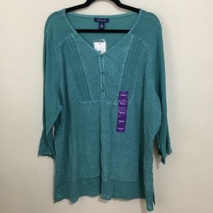 BANDOLINO lisa marie teal boho blouse AS15